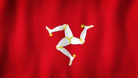 Isle of Man flag waving in the wind. Closeup of realistic flag with highly detailed fabric texture