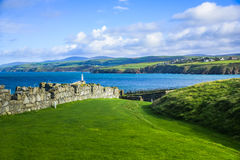 Isle of Man Landscape View. With the wall of Peel Castle royalty free stock photos