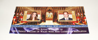 Isle of Man's stamp sheet on Royal Wedding 2011. As stamp sheet commemorating the royal wedding between (the then) HRH Prince Williams of Wales and (the then) Royalty Free Stock Photos