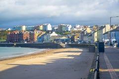 Isle of Man seaside town. Beautiful beach and coastline of the seaside town Peel, Isle of Man royalty free stock image