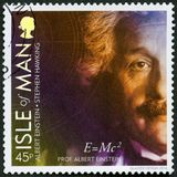 ISLE OF MAN - 2016: shows Albert Einstein 1879-1955, physicist, 100 Years of General Relativity. ISLE OF MAN - CIRCA 2016: A stamp printed in isle of Man shows stock photos
