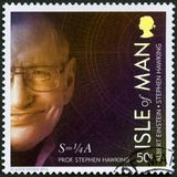 ISLE OF MAN - 2016: shows Stephen William Hawking born 1942, physicist, 100 Years of General Relativity. ISLE OF MAN - CIRCA 2016: A stamp printed in isle of Man stock photography