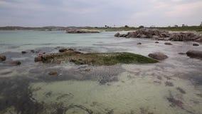 Isle of Mull Scotland beautiful Scottish beach at Fidden near Iona popular for motorhomes pan stock video footage