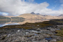 Isle of Mull Scotland UK beautiful Loch Scridain with view to Ben More and Glen More mountains Royalty Free Stock Photo