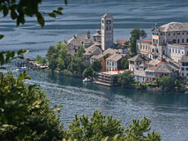 Isle of Orta with Cathedral Stock Images
