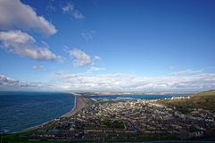 Isle of Portland. A sweeping view of the Isle of Portland and Chesil Beach Royalty Free Stock Photo