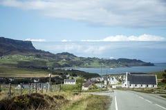 Isle of Sky Scotland UK Panorama View Sea Village royalty free stock photos