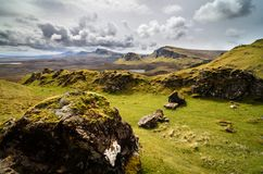 Isle of skye, Quiraing mountain, Scotland scenic landscape. Isle of skye, Quiraing mountains scenery, Scotland scenic landscape stock photo