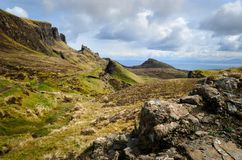 Isle of skye, Quiraing mountain, Scotland scenic landscape. Isle of skye, Quiraing mountains scenery, Scotland scenic landscape stock image
