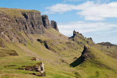 Isle of Skye, Quiraing, the Prison. View of the mountain called Quiraing from the top looking at the formation called the Prison royalty free stock photography