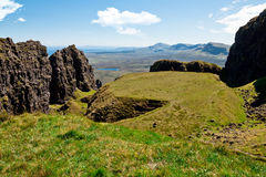 Isle of Skye, Quiraing, the Table. View of the mountain called Quiraing from the top looking at the formation called the Table stock image