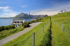 ISLE OF SKYE, UK - JUNE 20, 2017: View of the Black Cuillin mountain range across Loch Scavaig from the coastal path near Elgol wi Royalty Free Stock Photography