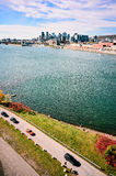 Isle St-Helene,St-Laurence river and Montreal downtown Royalty Free Stock Photo