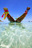Isle white  beach    rocks pirogue  in  south china sea Stock Photography
