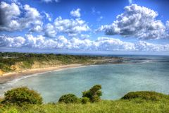 Isle of Wight coastal view Whitecliff Bay near Bembridge east of the island in vivid and bright HDR Royalty Free Stock Photo