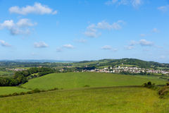 Isle of Wight country view towards Brading home to the Roman Villa tourist attraction Stock Photos