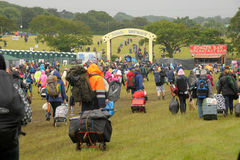 Isle of Wight Festival. Isle of Wight, England, June 21 2012. Heavy rain and traffic congestion brings chaos to the Isle of Wight festival but revellers flood in stock image