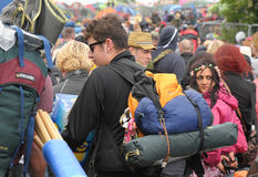 Isle of Wight Festival queues Royalty Free Stock Photo