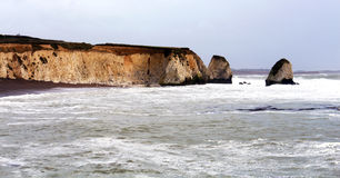 Isle of Wight UK Freshwater Bay. During storm surge stock images