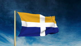 Isles Of Scilly flag slider style. Waving in the. Isles Of Scilly flag slider style. Waving with cloud background animation stock video footage