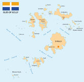 Isles of Scilly map Royalty Free Stock Photos