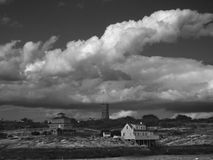 Isles of Shoals. A black and white image of one of the historic Isles of Shoals stock image