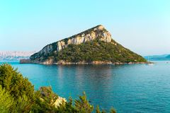 Islet in the middle of the sea stock images