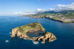 Islet of Vila Franca do Campo, Azores, Portugal. Islet of Vila Franca do Campo, Sao Miguel island, Azores, Portugal aerial view royalty free stock photos