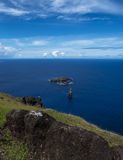 Islets of Easter Island , Chile. View from Orongo of the 3 islets of Motu Kau Kau , Motu Iti and Motu Nui , Easter island , Polynesia ,Chile. Motu nui played an stock photography
