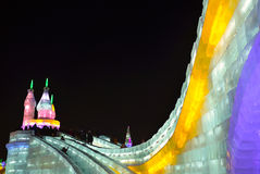 Isljus i Harbin, Kina, Hei Longing Province royaltyfri foto
