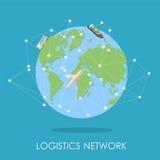 Isllustration isométrico da rede logística Mini conceito do planeta Imagem de Stock