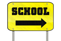 Isloated school sign. Big yellow isolated sign with School text and arrow vector illustration