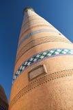 Islom Hoja Minaret in Khiva. Close-up view of Islom Hoja Minaret in Itchan Kala  - old centre of Khiva, Khorezm, Republic of Karakalpakstan, Uzbekistan Stock Photo