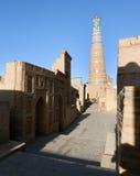 Islom hoja minaret w Itchan Kala, Khiva - obrazy stock