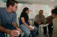 ISM volunteers in Palestine. ISM volunteers having a meeting in Palestine royalty free stock photography