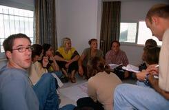 ISM volunteers in Palestine. ISM volunteers sat on the floor brainstorming in Palestine royalty free stock photos