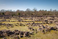 Ismantorp borg. The ruins of the fortified site of Ismantorp borg of the island of Öland Sweden stock image