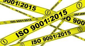ISO 9001:2015 Κίτρινες ταινίες προειδοποίησης Στοκ Εικόνες