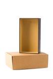 Iso коробки пакета открытой и закрытой картонной коробки 2 или коричневой бумаги Стоковые Фото