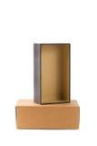 Iso коробки пакета открытой и закрытой картонной коробки 2 или коричневой бумаги Стоковые Изображения