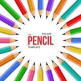 Iso круга карандаша офиса графита Photorealistic вектора красочный бесплатная иллюстрация
