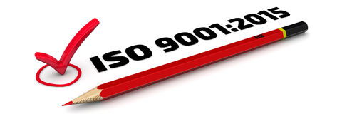 9001:2015 ISO Метка иллюстрация вектора