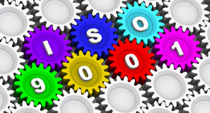 ISO 9001. Abbreviation on the gears Royalty Free Stock Image