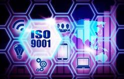 ISO 9001 blauw plan als achtergrond vector illustratie