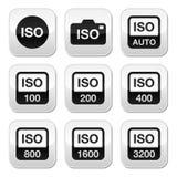 Iso - bottoni standard di sensibilità della macchina fotografica messi illustrazione di stock