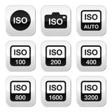 ISO - camera film speed standard buttons set. Camera ISO settings vector butttons set isolated on white Stock Image