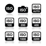 ISO - camera film speed standard icons set. Camera ISO settings  icons set  on white Royalty Free Stock Photo