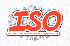 ISO - Cartoon Red Word. Business Concept.