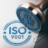 ISO 9001 Certification, Quality Management. Rubber Stamp. 3D illustration of a rubber stamp with the text ISO 9001 certification over paper background vector illustration