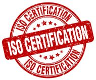 Iso certification red stamp. Iso certification red grunge round stamp isolated on white background royalty free illustration
